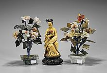 Three Chinese Items: Potted Flowers & Figure