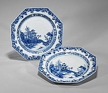 Pair Antique Chinese Octagonal Plates