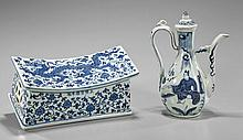 Two Chinese Blue & Whites: Pillow & Ewer