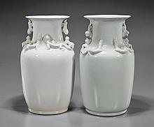 Pair Blanc de Chine Porcelain Vases