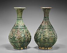 Pair Chinese Faceted Yuhuchunping Vases