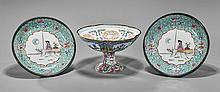 Pair Porcelain Plates & Copper Stem Bowl
