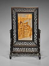 Chinese Painted Wood Tablescreen