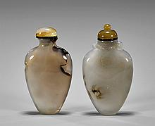 Pair Chalcedony Agate Snuff Bottles