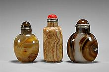 Group of Three Agate Snuff Bottles