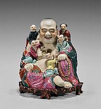 Vintage Enameled Bisque Porcelain Budai Group