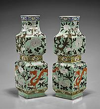 Pair Antique Square Porcelain Vases