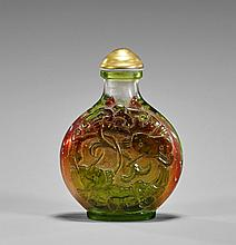 Green Overlay Glass Snuff Bottle