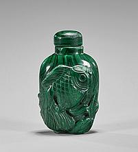 Carved Malachite Snuff Bottle