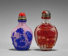 Two Overlay Glass Snuff Bottles