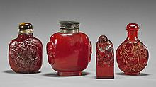 Three Carved Snuff Bottles & Seal