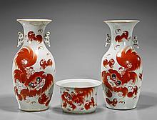 Three Porcelains: Pair Vases & Pot