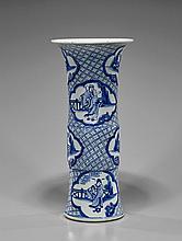 Large Kangxi-Style Blue & White Beaker Vase