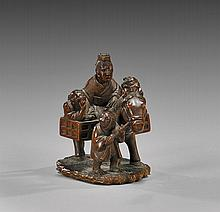 ANTIQUE WOOD NETSUKE: Horse & Riders