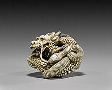 CARVED IVORY NETSUKE: Dragon & Snake
