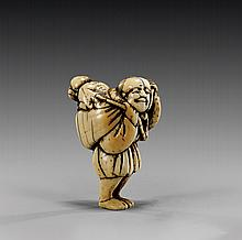 ANTIQUE IVORY NETSUKE: Man & Monkey