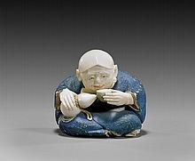 POLYCHROMED IVORY NETSUKE: Actor