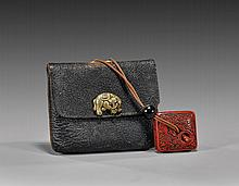 ANTIQUE JAPANESE TOBACCO POUCH SUITE