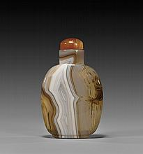 CARVED BANDED AGATE SNUFF BOTTLE