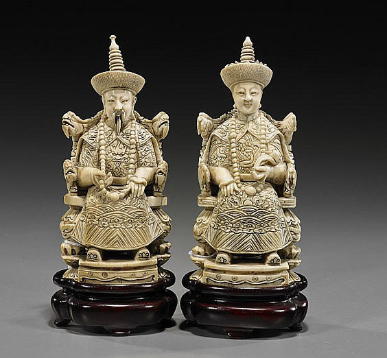 Pair Carved Ivory Emperor & Empress