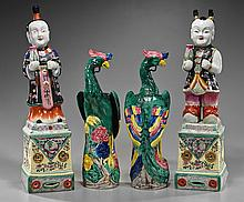 Two Pair Chinese Porcelains: Figures & Birds