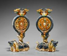 Pair Tang-Style Sancai Pottery Candleholders