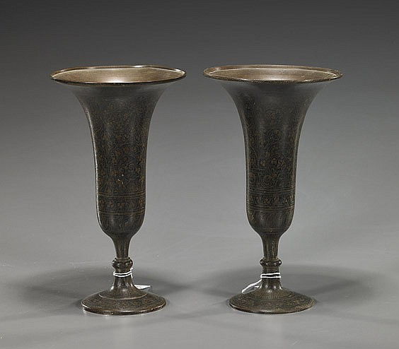 Pair Indian Lacquered Bronze Stem Cups