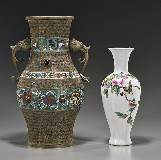 Two Various Vases: Bronze & Porcelain