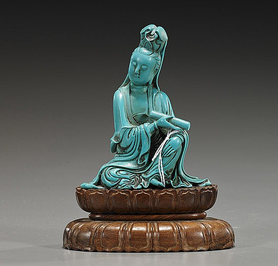 Chinese Carved Turquoise-Like Guanyin