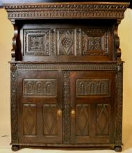 18TH C. HAND CARVED TALL CUPBOARD
