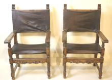 ANTIQUE NAIL TRIMMED LEATHER ARM CHAIRS