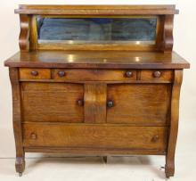 AMERICAN ANTIQUE MIRRORED BACK SIDEBOARD