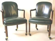 VINTAGE MAHOGANY NAIL TRIMMED LEATHER CHAIRS