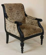 EBONIZED CONTEMPORARY CARVED OVERSIZED ARMCHAIR