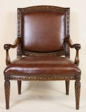 ENGLISH BEVAN FUNNEL MAHOGANY & LEATHER CHAIR