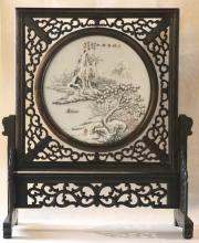 CHINESE ANTIQUE PORCELAIN REVOLVING TABLE SCREEN