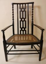 ENGLISH ANTIQUE OAK BARLEY TWIST ARMCHAIR