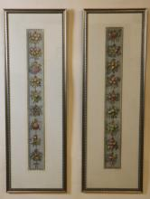 ANTIQUE FRAMED NEEDLEPOINT BELL PULL FRAGMENTS