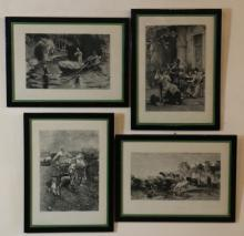 FOUR FRAMED ETCHINGS