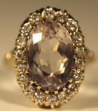 14KYG, AMETHYST & DIAMOND LADIES COCKTAIL  RING