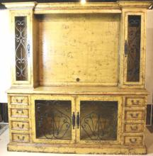 PAINT & IRON DECORTAED CONTEMPORARY LCD TV CABINET