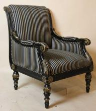 PARCEL GILT & EBONIZED CUSTOME UPOLSTERED ARMCHAIR