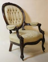 VICTORIAN TUFFTED WALNUT ARMCHAIR