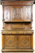 ENGLISH ANTIQUE HAND CARVED TALL CUPBOARD