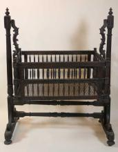 18TH / 19TH C. ANTIQUE ANGLO INDIAN CARVED CRIB