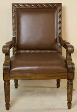 LEATHER & MAHOGANY HAND CARVED ARMCHAIRS