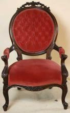 VICTORIAN TUFTED  ANTIQUE ARMCHAIR