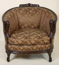 VINTAGE  HAND CARVED MAHOGANY BARREL ARMCHAIR