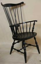 EBONIZED ANTIQUE WINDSOR ARM CHAIR