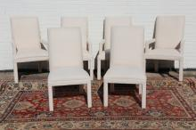SIX COMTEMPORARY MODERN MUSLIN ARM-CHAIRS